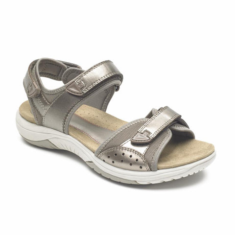 Rockport Women FRANKLIN THREE STRAP TAUPE/METALLIC LEATHER