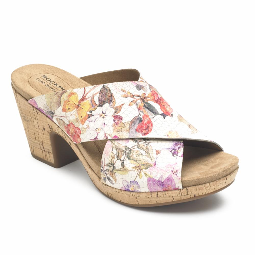 Cobb Hill ALLEAH SLIDE WHITE/FLORAL