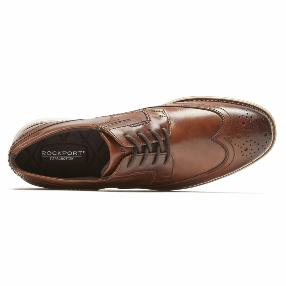 Rockport Men TOTAL MOTION SPORT DRESS WING TIP COGNAC/LEATHER