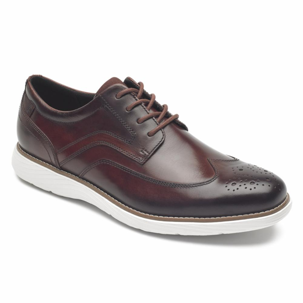 Rockport Men GARETT WING TIP BURGUNDY/LEATHER