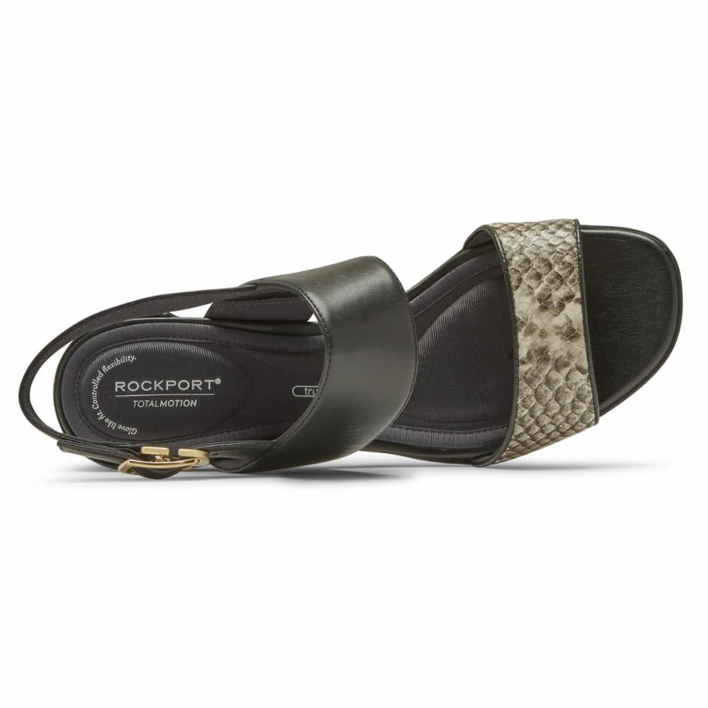 Rockport Women TOTAL MOTION ALAINA TWO STRAP BEIGE SNAKE
