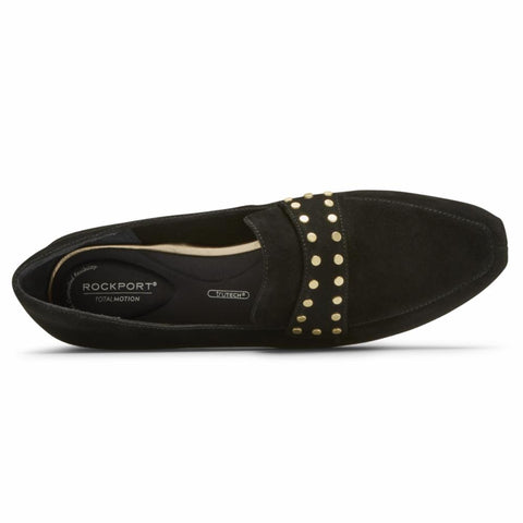 Rockport Women TOTAL MOTION LAYLANI STUD KEEP BLACK SUEDE STUDS