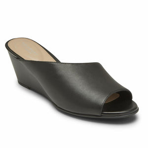Rockport Women TOTAL MOTION TAYLOR ASYM SLIDE BLACK LTHR
