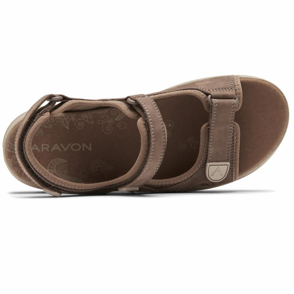 Aravon A REV SANDAL 3 STRAP BROWN