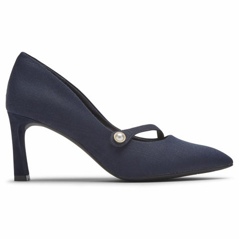 Rockport Women TOTAL MOTION SHEEHAN ASYM MJ NAVY TEXTILE