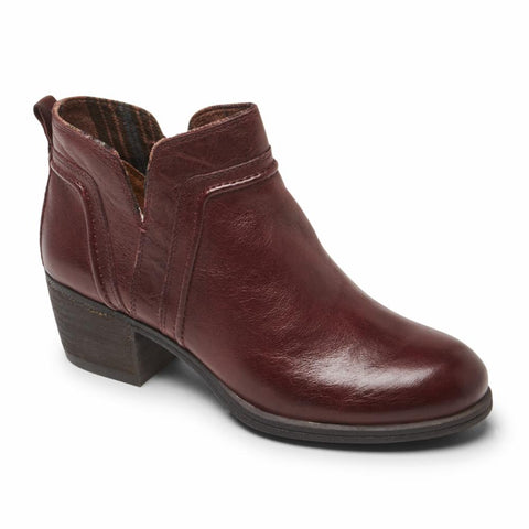Cobb Hill ANISA VCUT BOOTIE BURGUNDY LEATHER