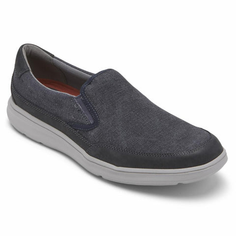 Rockport Men BECKWITH DOUBLE GORE NAVY/CANVAS/NUBUCK