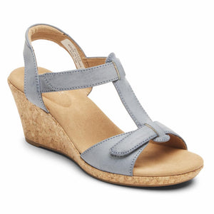Rockport Women BRIAH T STRAP BLUE CHAMBRAY