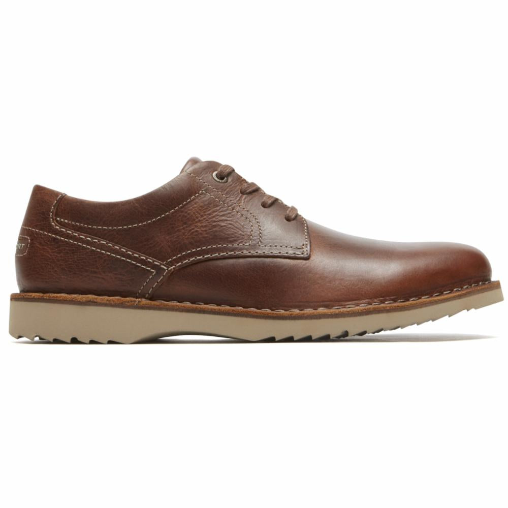 Rockport Men CABOT PLAIN TOE BROWN/LEATHER