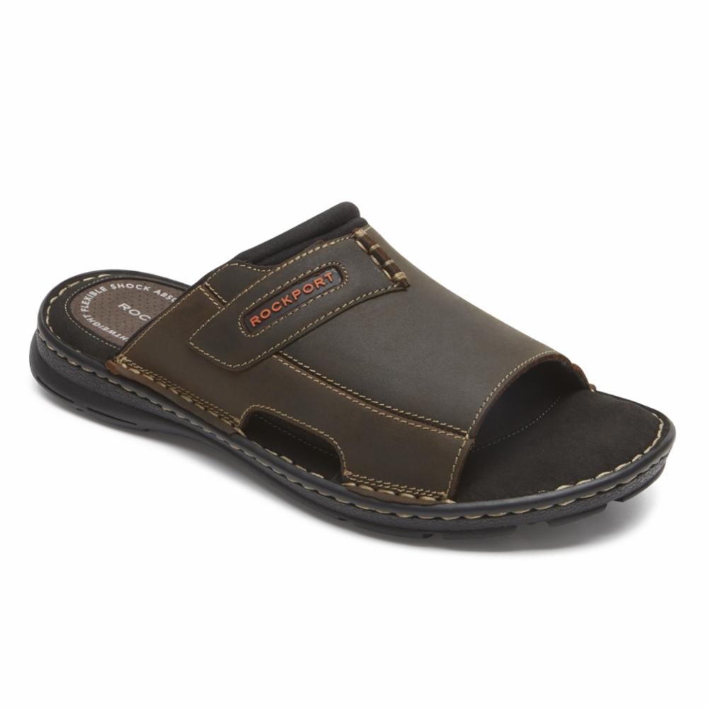 Rockport Men DARWYN SLIDE 2 BROWN II/LEATHER