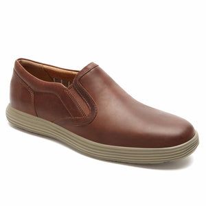 Rockport Men THURSTON GORE SLIP ON DK TAN/LEATHER
