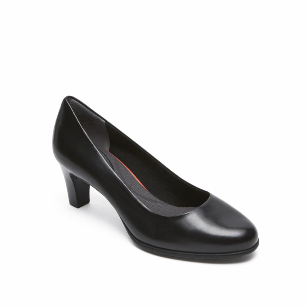 Rockport Women TOTAL MOTION MELORA PLAIN PUMP BLACK/BURN CALF