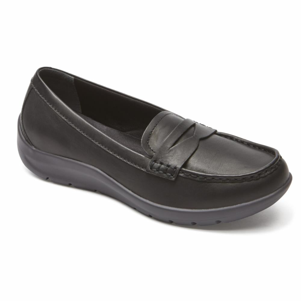 Rockport Women TWZ MOREZA PENNY LOAFER BLACK/BURN CALF