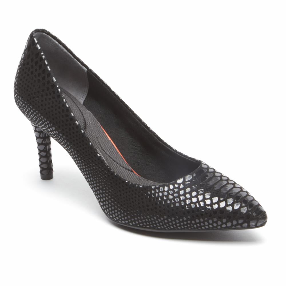 Rockport Women TOTAL MOTION 75mmPTH PLAIN PUMP BLACK/BOA/SNAKE
