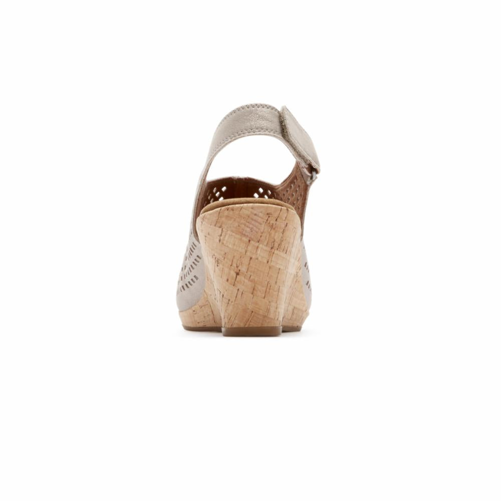 Rockport Women BRIAH PERF SLING MTL KHAKI/LEATHER
