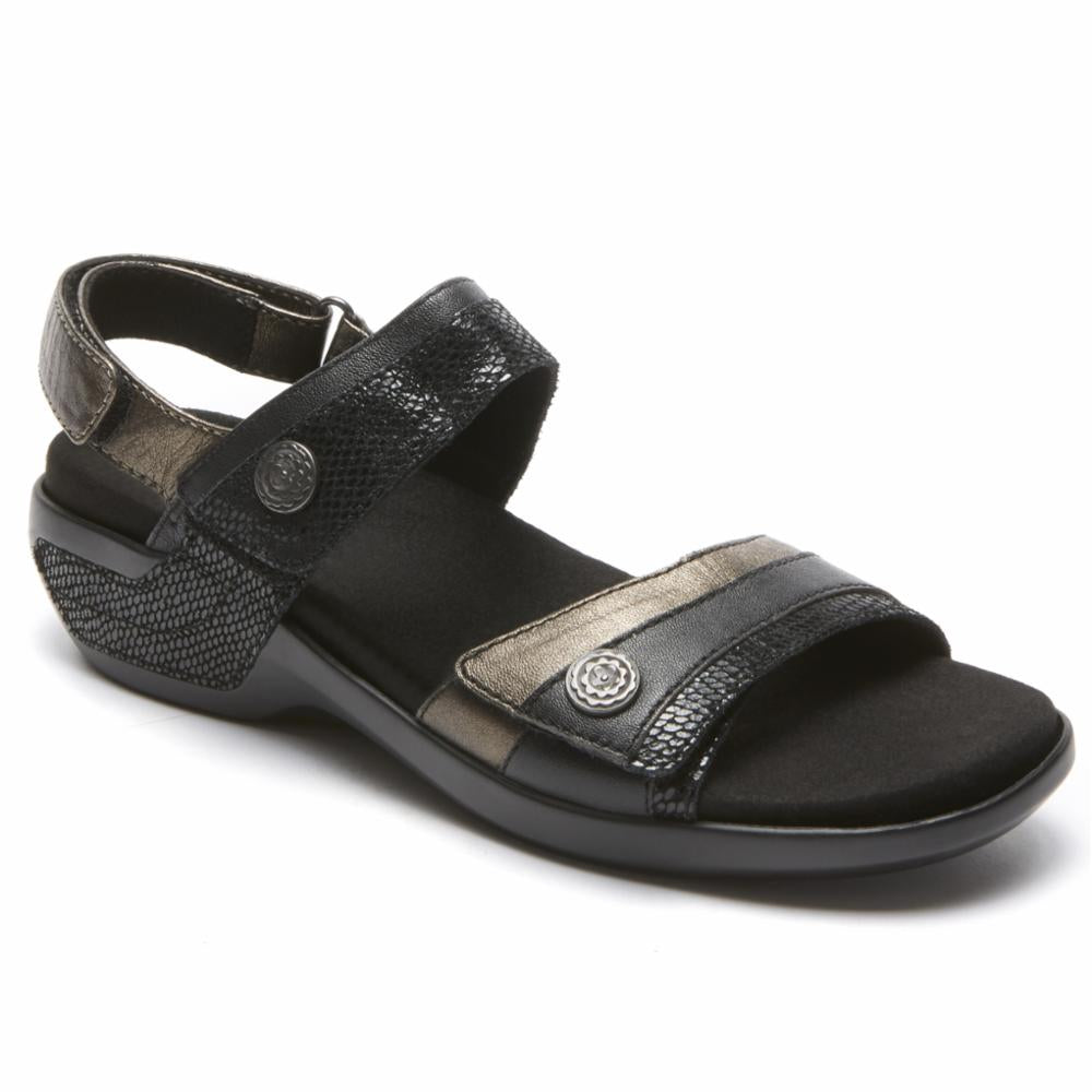 Aravon POWER COMFORT SANDALS KATHERINE BLACK/MULTI