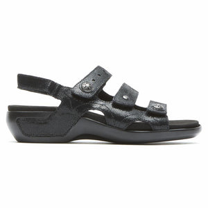 Aravon POWER COMFORT SANDALS THREE STRAP BLACK