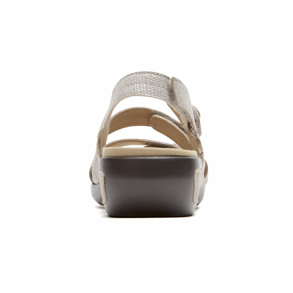 Aravon POWER COMFORT SANDALS THREE STRAP METALLIC SAND