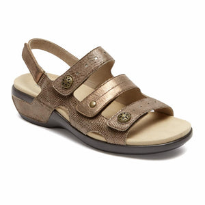 Aravon POWER COMFORT SANDALS THREE STRAP METALLIC TAUPE