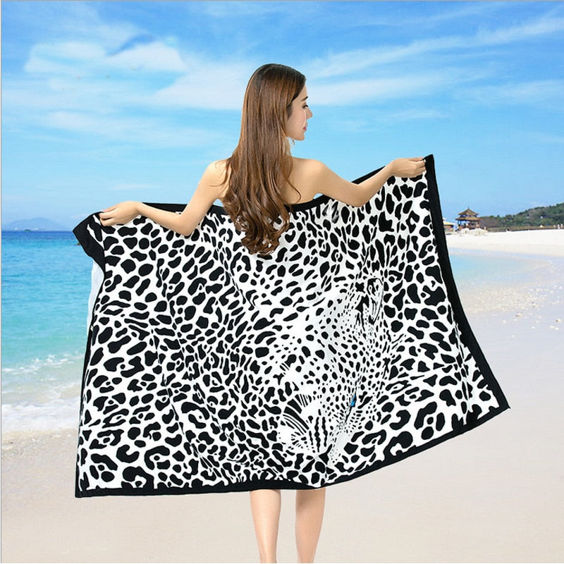 Beach Towel Microfiber Adult Children Bath Towel - Leopard print