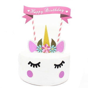 1set Handmade Pink Unicorn Party Cake Topper