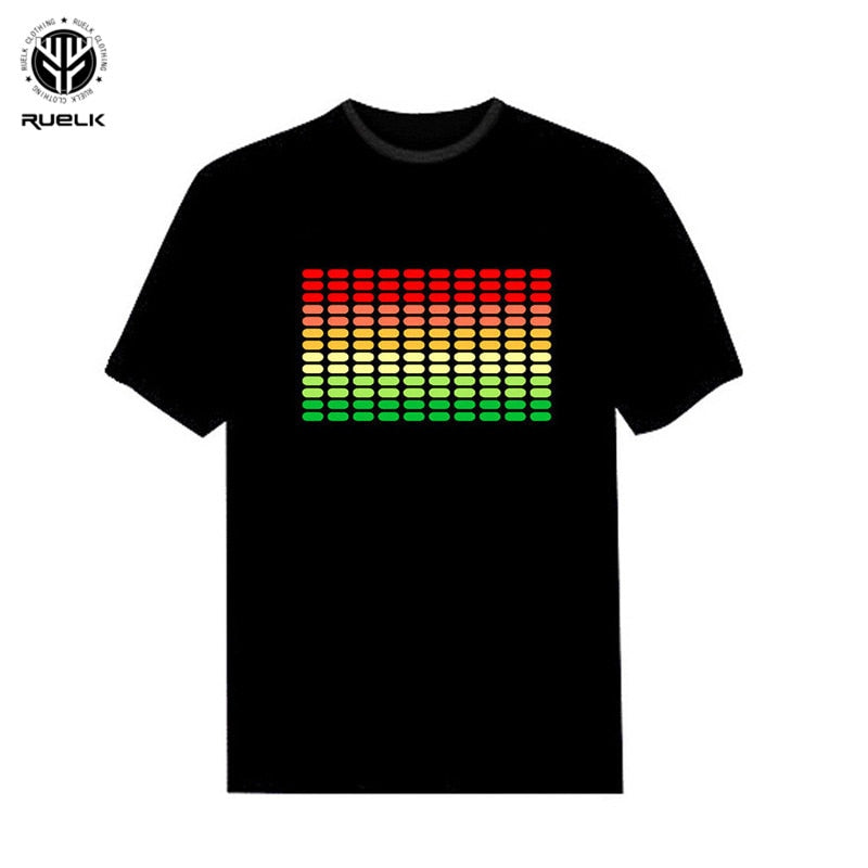 RUELK 2018  Sale Sound Activated LED T Shirt Light Up and down Flashing Equalizer EL T-Shirt Men for Rock Disco Party DJ T shirt