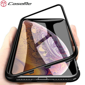 CaseMe 360 Magnetic Adsorption Case for iPhone XR XS MAX X 8 7 Plus + Tempered Glass Back Magnet Cover for iPhone 6 S Plus Cases