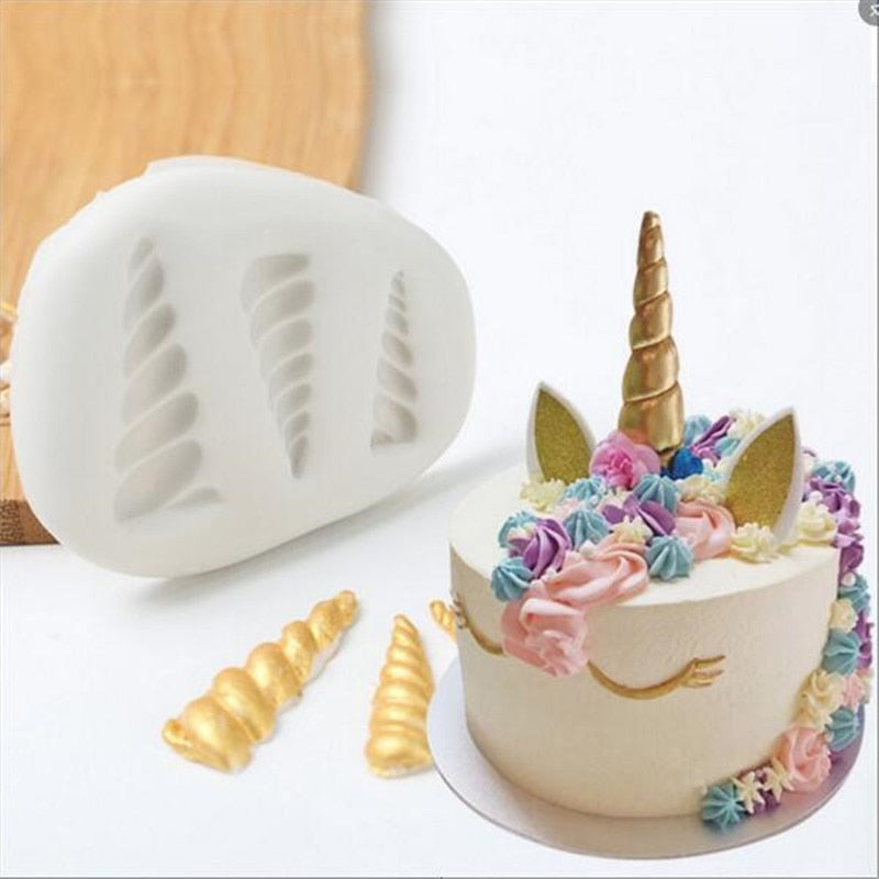 3D Unicorn Head Horn - White Silicone Molds for Fondant