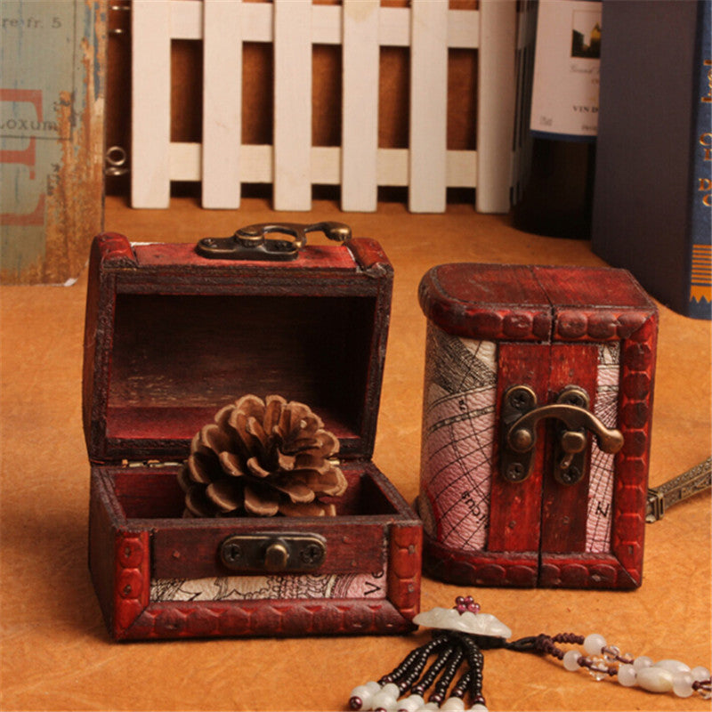 Retro Wood Handmade Lock Box Storage