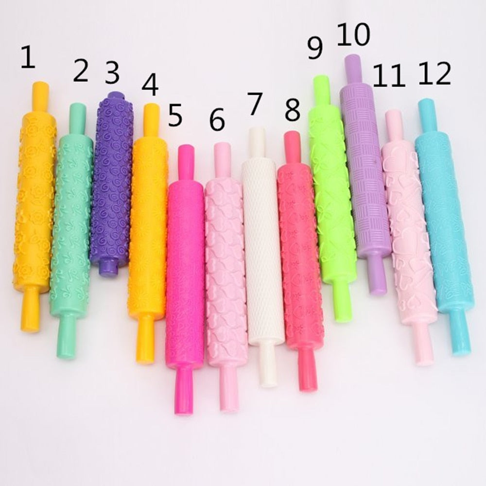 12 Colors Rolling Pin - Fondant Embossing Rolling Pin