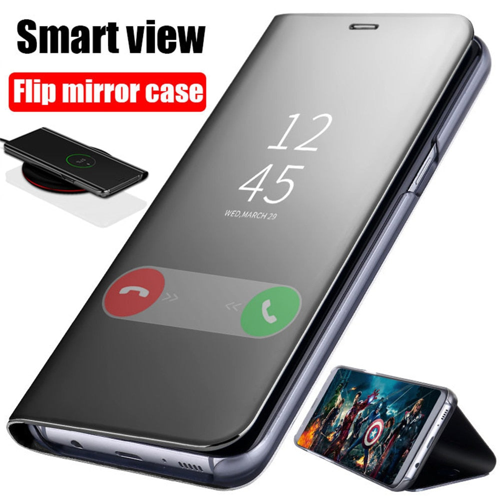 Smart Mirror Flip Case For Samsung Galaxy S8 S9 S10 Plus A8 J8 2018 S6 S7 Edge A5 A3 J5 J3 Note 8