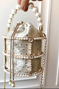 JULIETTE VELVET PEARL HANDBAG   Sold out Pre order