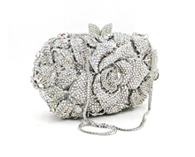 Load image into Gallery viewer, Crystal Rose clutch/bag