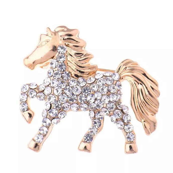 CRYSTAL HORSE MINI BROOCH