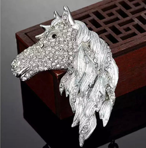 COLLARED AUSTRISAN CRYSTAL HORSE BROOCH