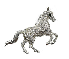 Load image into Gallery viewer, CRYSTAL HORSE BROOCH SILVER