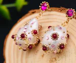 Natural freshwater pearl drop earrings with red/pink zircon