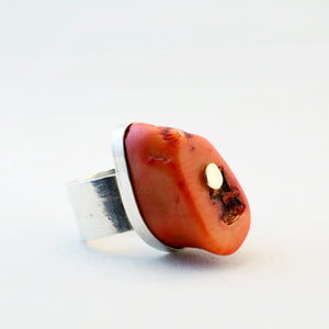 1970s Modernist Coral Silver and Gold Ring - Sold - Hopea