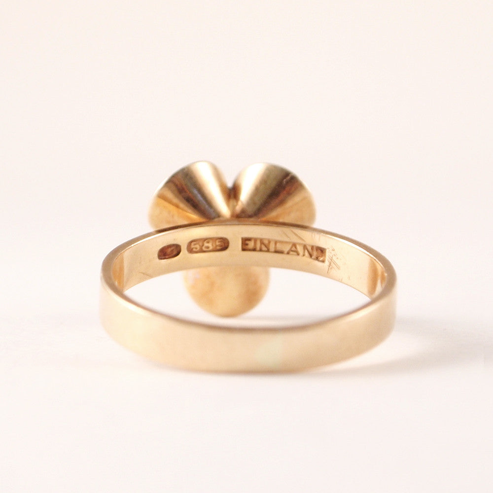 "Kupittaan Kulta 14k Gold ""Helmi"" Ring - Sold - Hopea"