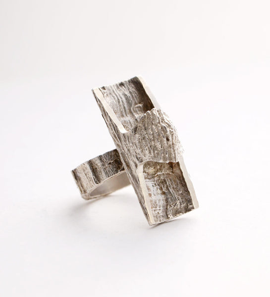 "1960s Anton Michelsen ""Silver Bark"" Ring - Sold"