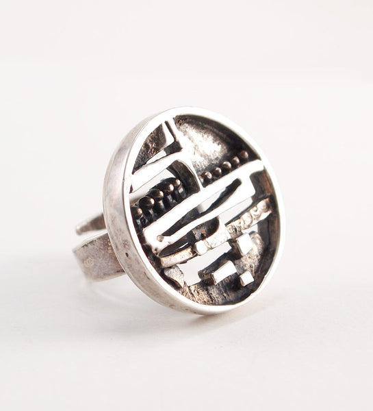"Jorma Laine ""Silver Ship"" Ring - Sold"
