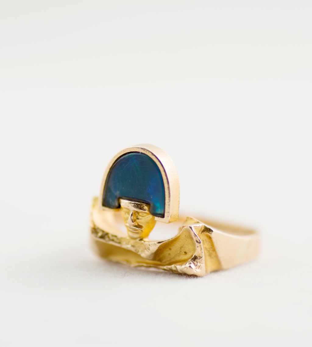 "Reserved - 1970s Bjorn Weckstrom 14k Gold + Opal ""Man"" Ring - Hopea"
