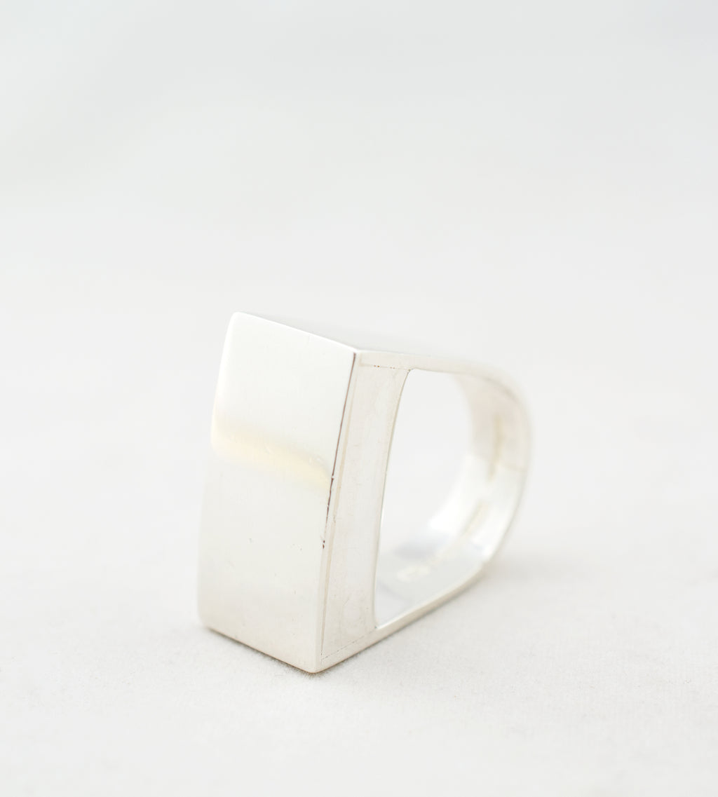 1970s Sterling Silver Block Ring by Pekka Piekäinen - Hopea