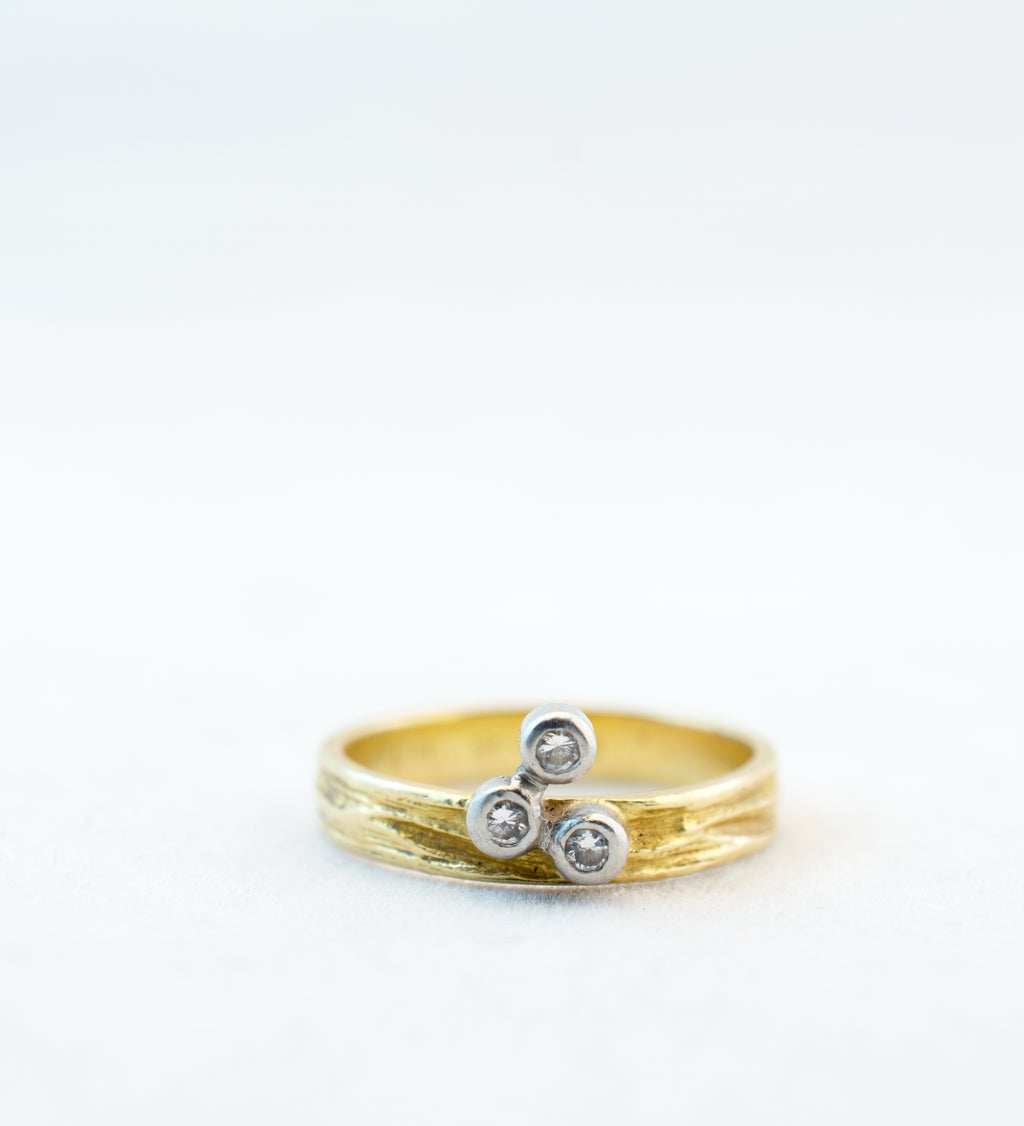 "1970s Bjorn Weckstrom 18k + Diamonds ""Jousi"" Ring - Sold - Hopea"