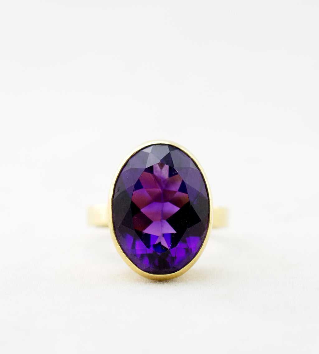 1950s Wiwen Nilsson Amethyst and 18k Gold Ring - Hopea