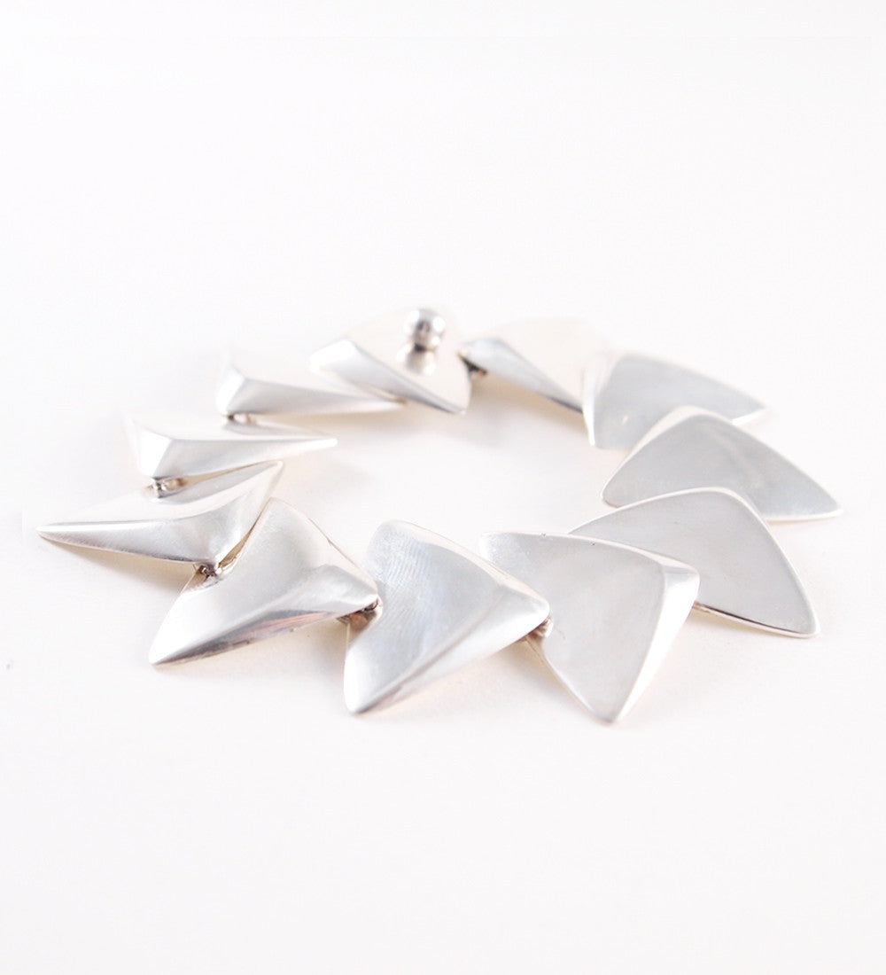 1960s Hans Hansen Sterling Silver Triangles Bracelet - Sold - Hopea
