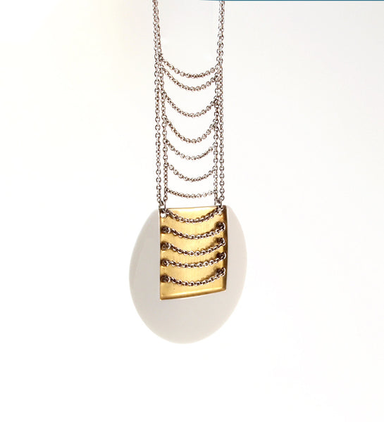Anton Michelsen Royal Bini Gold + Porcelain Necklace - Sold