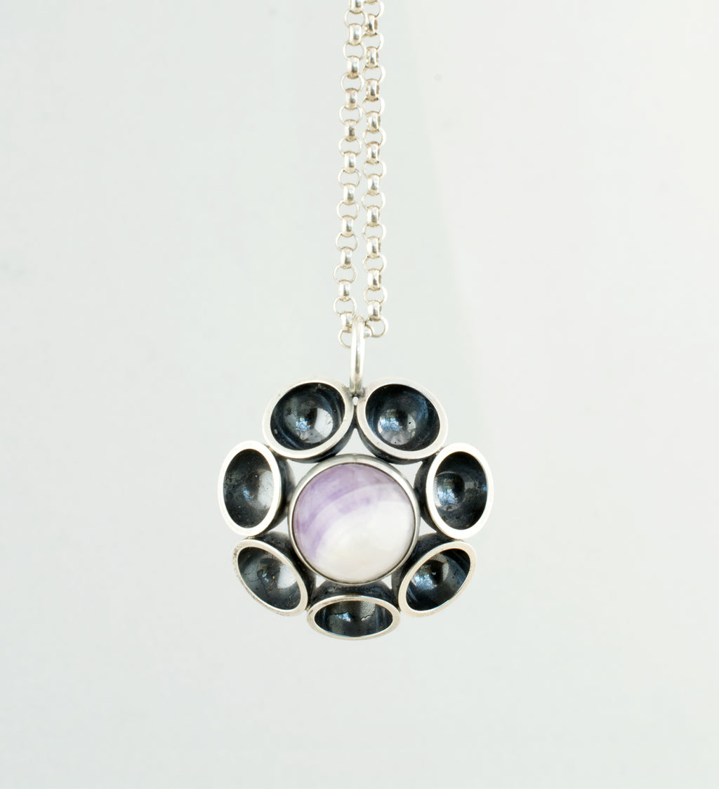 1970s Elis Kauppi Amethyst + Sterling Silver Necklace