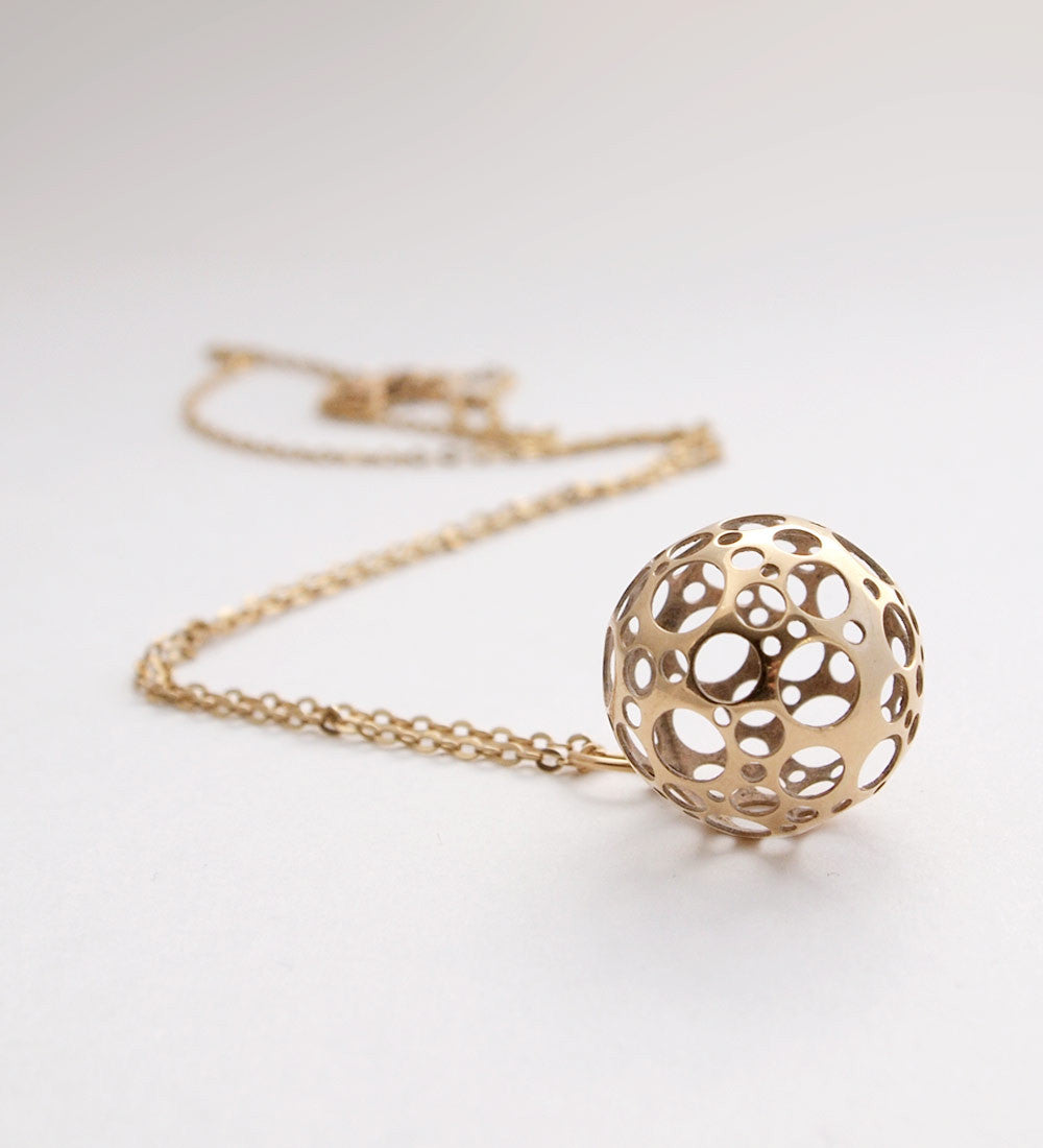 "1970s Liisa Vitali 14k Gold ""Ladybird"" Sphere Necklace - Sold - Hopea"