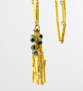 1970s Björn Weckström for Lapponia 18k Gold + Moss Agate Necklace - Hopea